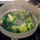 steam the broccoli, the green beans and the broad beans for a few minutes