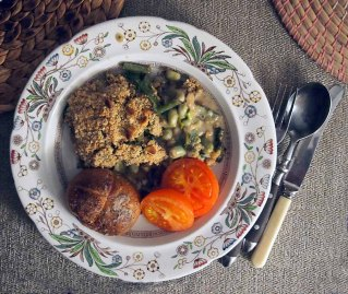 spring vegetable crumble + baked potato and roasted tomatoes