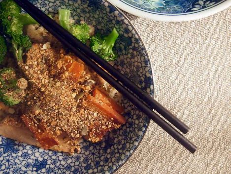 baked tofu and carrots with millet and steamed broccoli