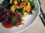 white bean burgers + papaya and avocado salad