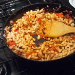 add beans and saute 3 mins.