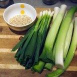 Leeks, scallions and pinhead oatmeal