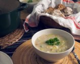 Irish Leek and Oatmeal Soup and Soda Bread