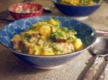 indonesian tofu curry - garnish with fresh coriander