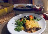 moussaka+ olive salad