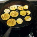 saute aubergines 3-4 mins. each side