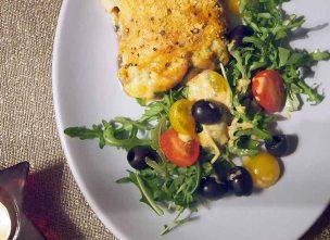 vegan moussaka + olive tomato salad