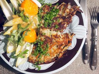 rosti salad and mustard dressing