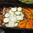 slice mushrooms, peppers and remain courgette half and roast or char grill..with a little oil