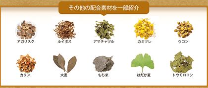 アガリスク、ルイボス、アマチャヅル、カミツレ、ウコン、カリン、大葉、もち米、はだか麦、トウモロコシ