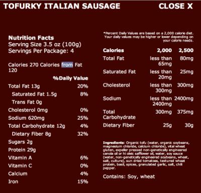 tofurky italian sausage nutrition