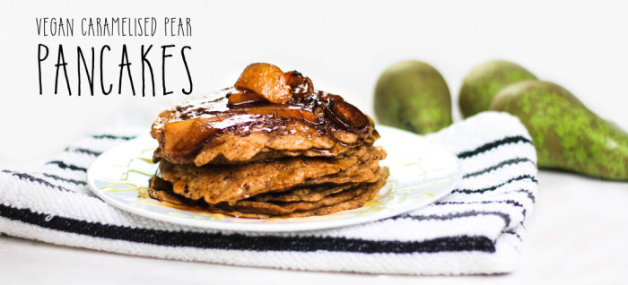 Vegan Caramelized Pear Pancakes