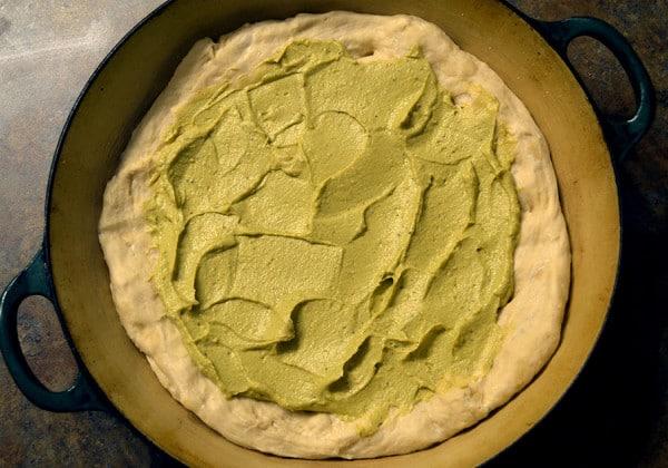vegan pizza dough with sauce