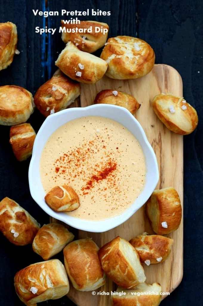 Vegan Pretzel Bites with Spicy Mustard Dip