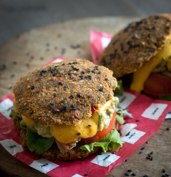 Raw Guacamole Sandwiches with Smoked Red Pepper Cheese Sauce