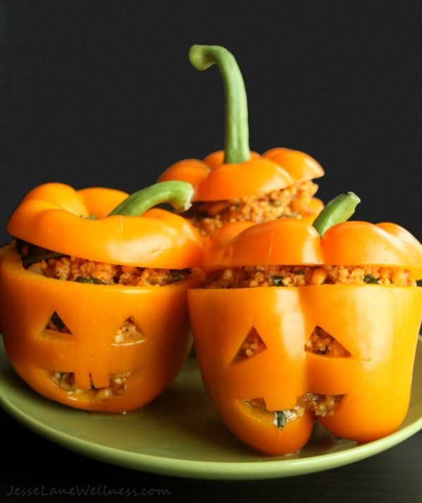 Meatless Stuffed Jack-O-Latern Peppers