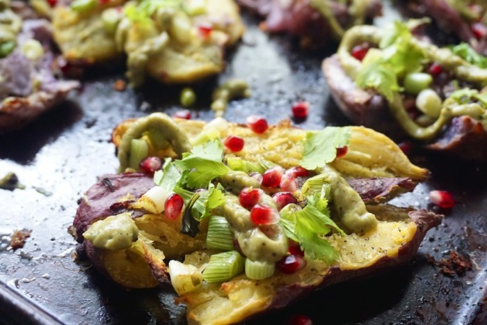 Crispy Smashed Sweet Potatoes with Avocado Crema