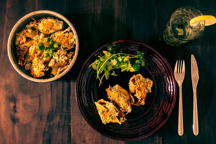Vegan Ricotta, Pumpkin & Kale Stuffed Shells