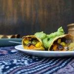 Black Bean & Sweet Potato Taquitos w/ Avocado & Cilantro Dressing