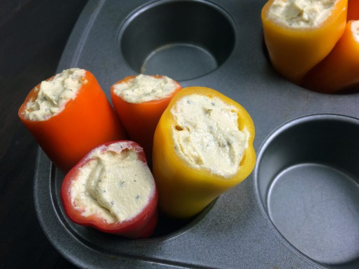 mini stuffed peppers tofu ricotta vegan