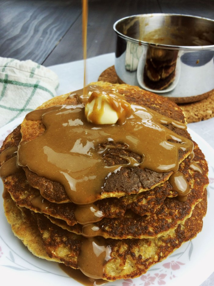espresso glaze and oatmeal pancakes