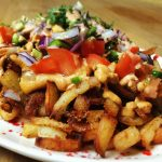 Loaded Fries with Cashew Cheese Sauce, Fresh Toppings, and Chipotle Mayo