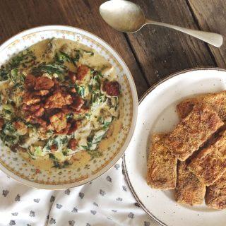 Creamy Collard Greens with Cornmeal Crusted Tofu