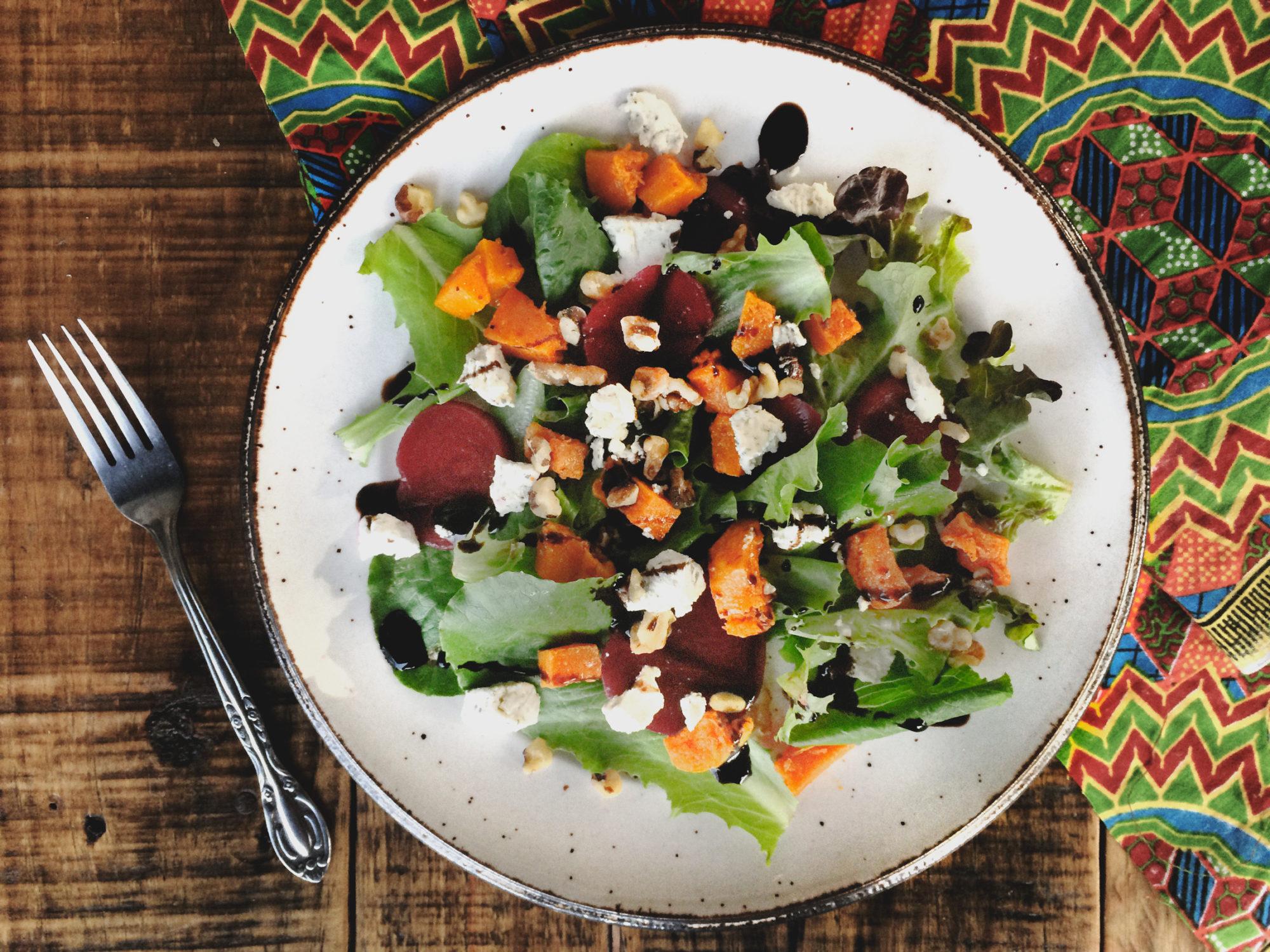 Roasted Butternut Squash Salad with Vegan Feta Cheese
