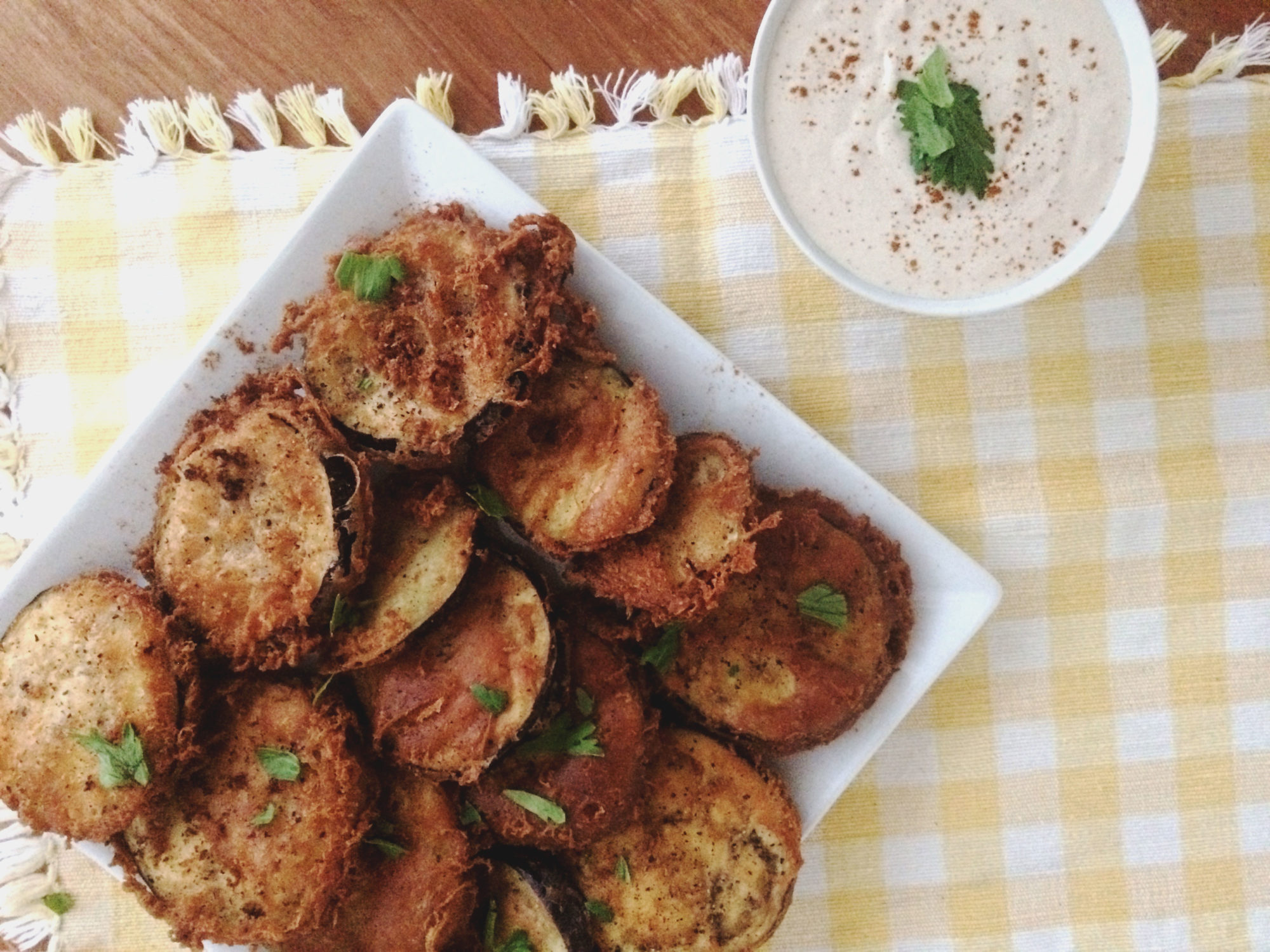 Cajun Battered Fried Eggplant with Cool Tangy Dip