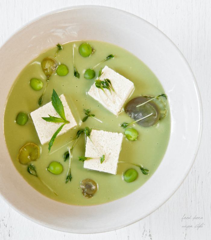 JAPANESE SOUP, CREAM OF FAVA BEANS AND PEAS