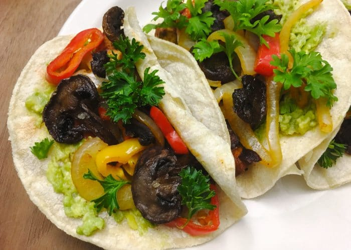 Southwest BBQ Tacos with Mushroom Bacon
