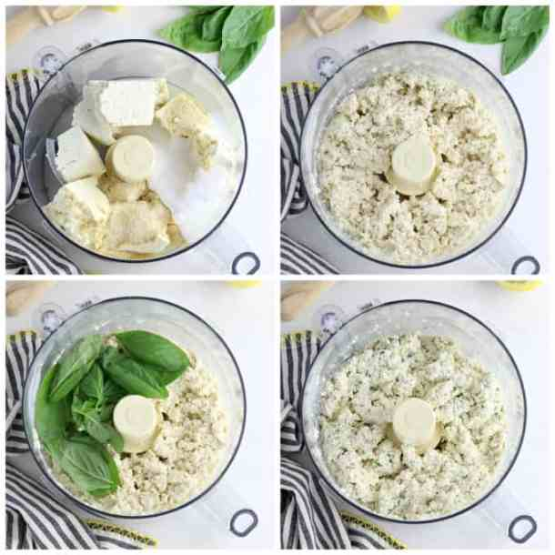Four process photos of making tofu ricotta in a food processor.