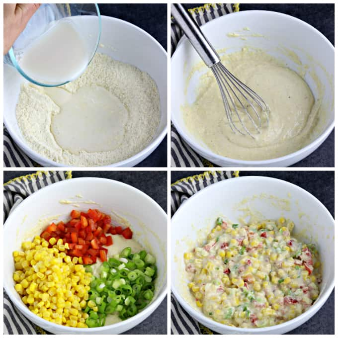 four process photos of making batter in a mixing bowl.