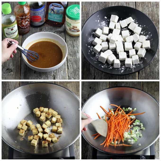 4 process photos of preparing ingredients for vegan pad thai.