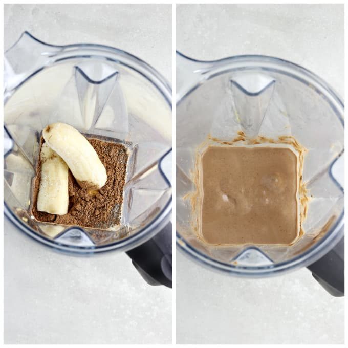 Two process photos of blending a chunky monkey smoothie.