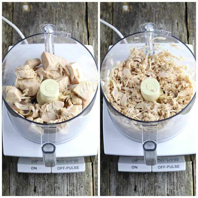 Two process photos of shredding jackfruit in a food processor.