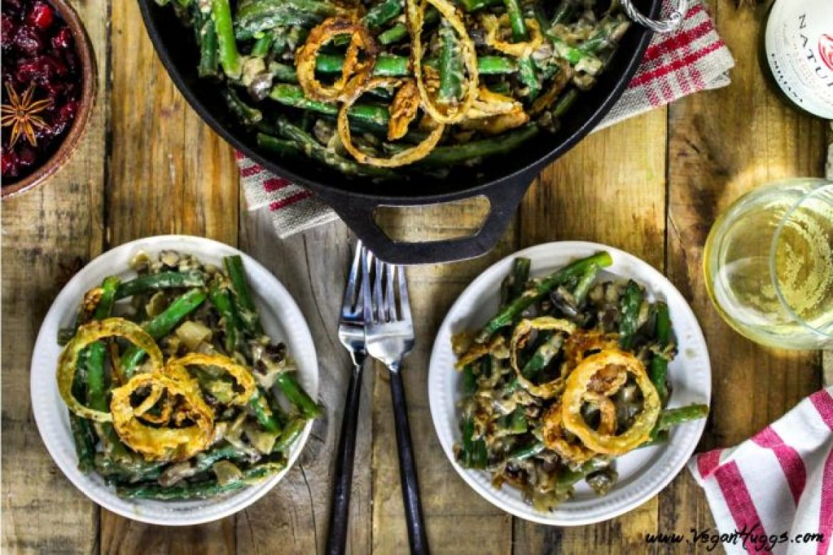 "This Vegan Green Bean Casserole is creamy, crunchy & savory! It's so close to the traditional version, that you'll have to keep saying, ""yep, it's vegan!"" to your holiday guests."