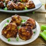 White plate filled with bbq cauliflower wings