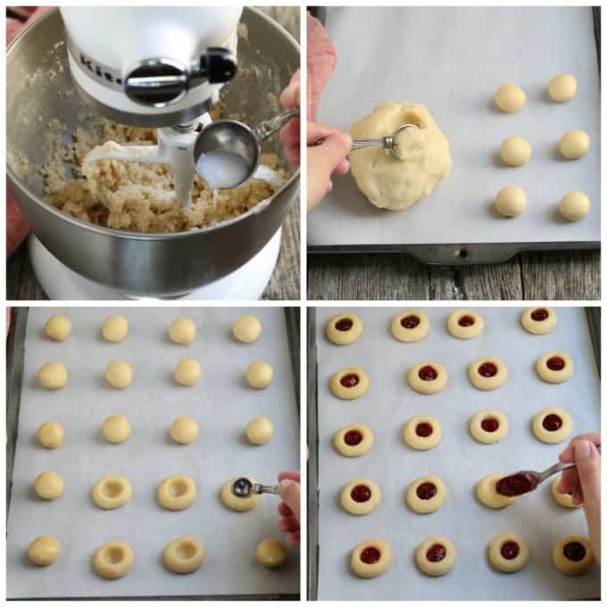 Process photos of mixing dough, rolling dough balls, making indents, adding jam to the vegan thumbprint cookies.