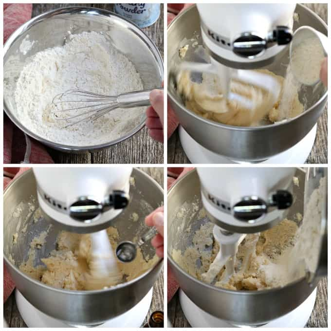 Process photos - whisking flour, beating butter and sugar, adding flour to a stand mixer.