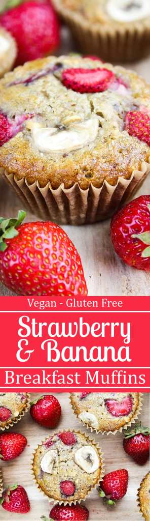 Strawberry Banana Breakfast Muffins - No refined sugar & they're vegan & gluten-free.