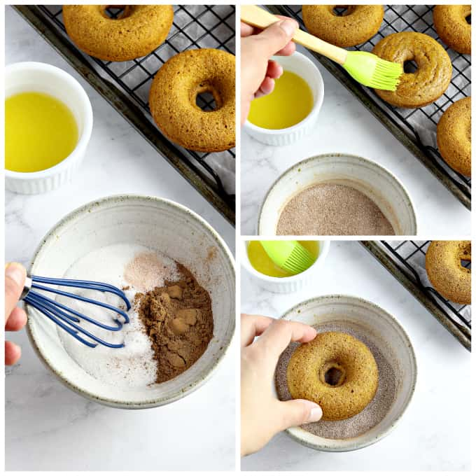 3 process photos of coating donuts with cinnamon sugar.