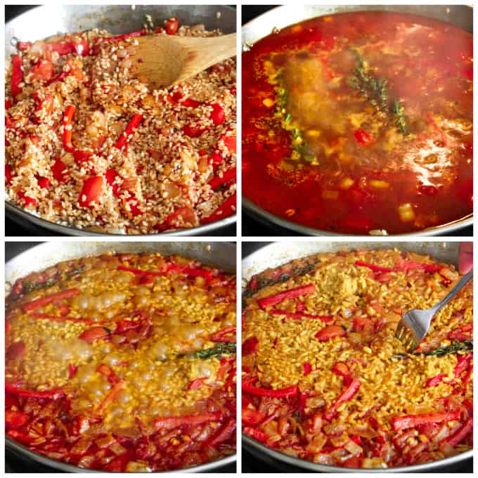 four process photos of cooking down broth for vegan paella.