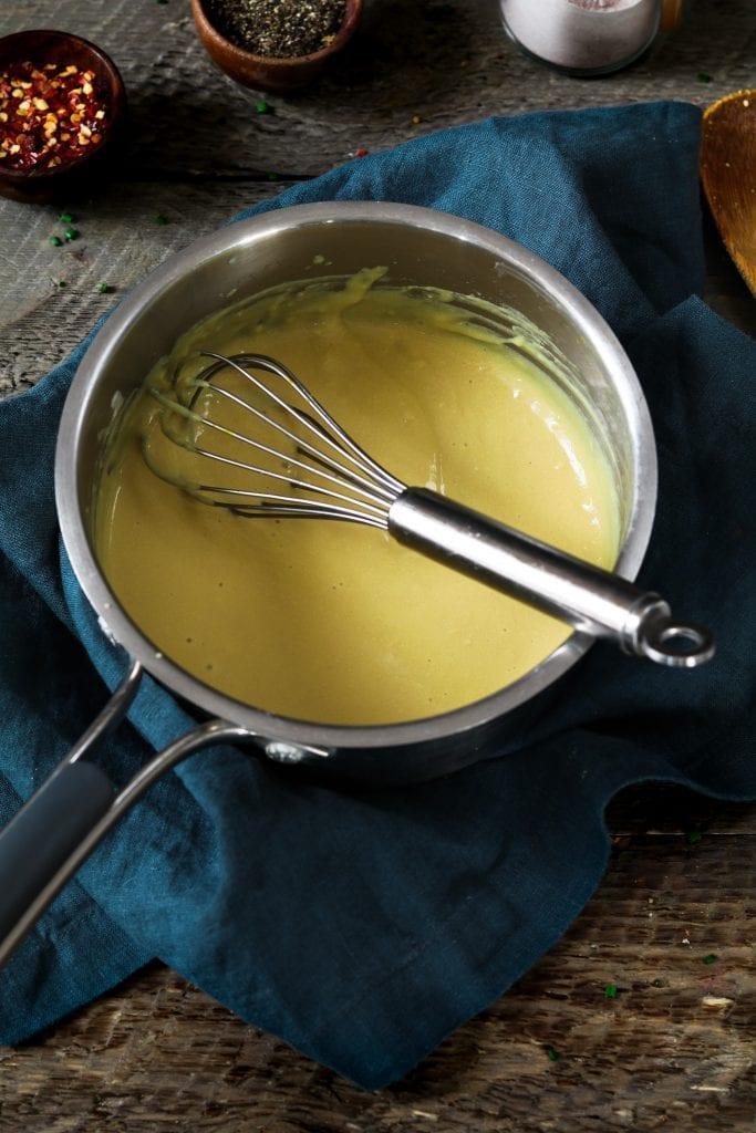 Small pot of cheesy sauce for Tofu Scramble Recipe