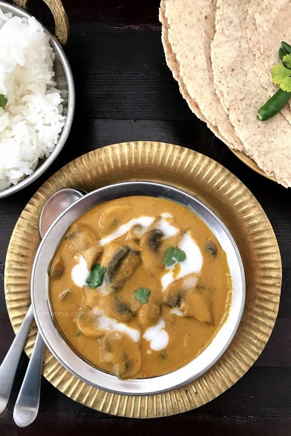 Easy Vegan Dinner Recipes - mushroom masala