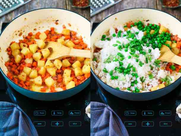 Process photos of sautéing pineapple chunks and then cooking rice, peas and green onion.