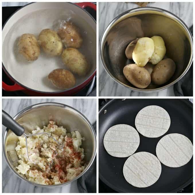 4 process photos of potatoes cooking, peeling potatoes, mashing potatoes and cooking tortillas.