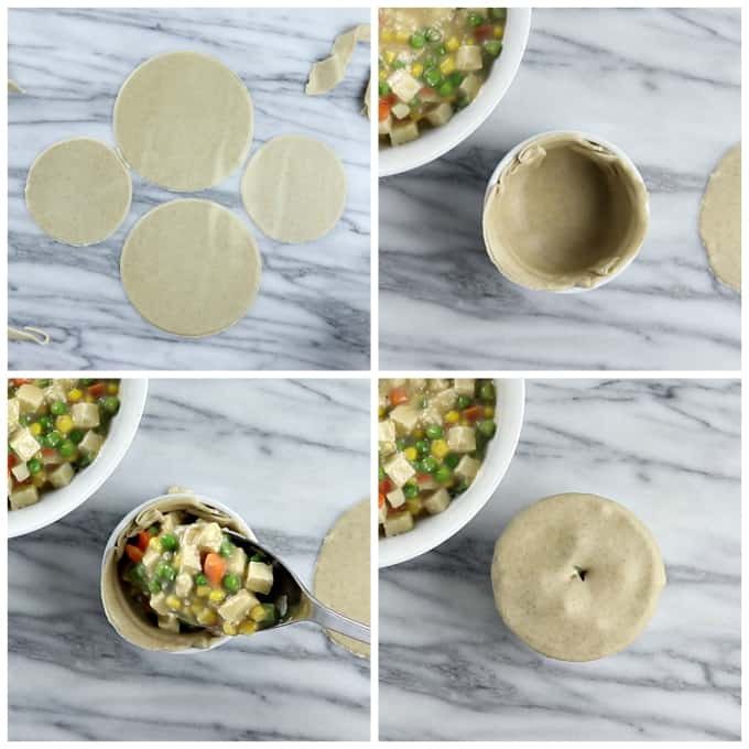 4 process photos of cutting the does for vegan pot pie and lining the ramekin and filling with vegetables.