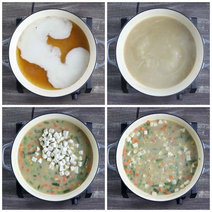 4 process photos of preparing the filling for vegan pot pie.