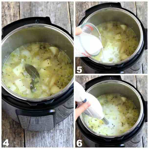3 process photos of fully cooked potato leek soup in the instant pot, pouring cream and blending.